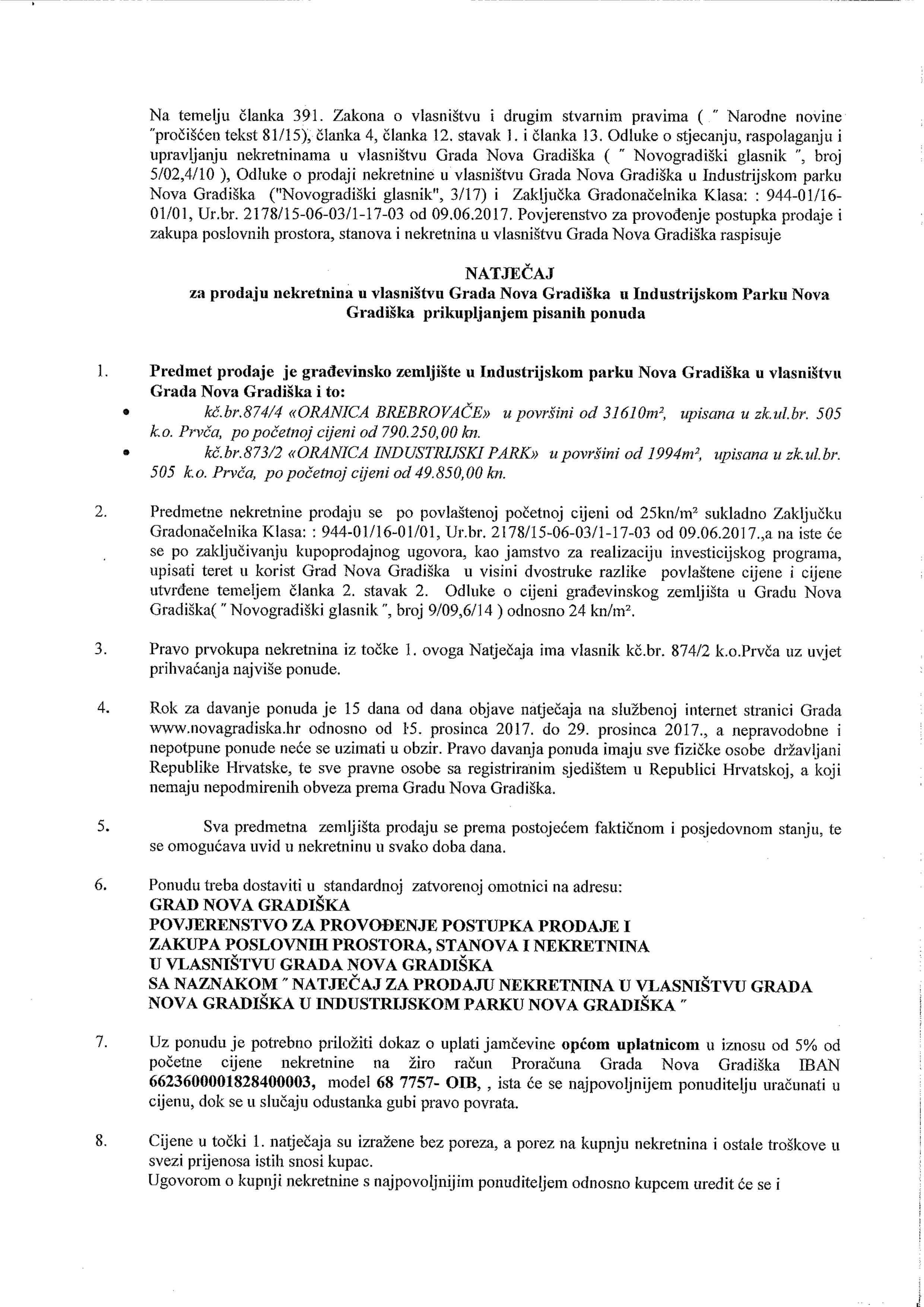 LokalnaHrvatska.hr Nova Gradiška Natjecaj za prodaju nekretnina u vlasnistvu Grada Nova Gradiska